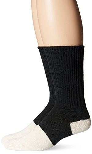 Top Flite Men's Health Crew Socks 3 Pair Pack, Black/White, Shoe Size 9-11
