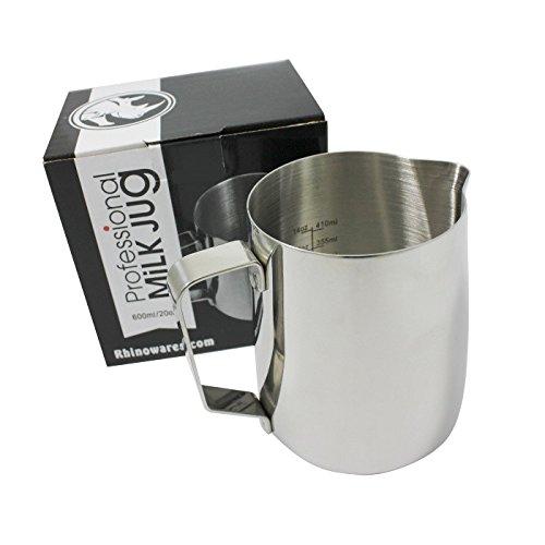 (BrewGlobal Rhinoware Professional Milk Pitcher, Stainless Steel 20 oz (RHMJ20oz))