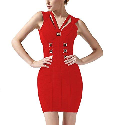 Vestido Vendaje Vestido sin Ajustado Mujer Vestidos Bandage FARINA® Dress para rayón Bodycon Mangas Bandage 55005rojo dqBaw