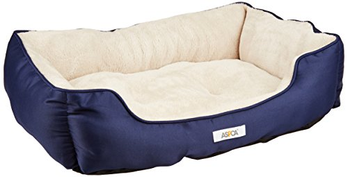 Blue Dog Bed - ASPCA Microtech Striped Dog Bed Cuddler, 28 by 20 by 8-Inch, Blue