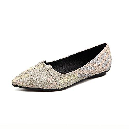 Xue Femeninos verde Zapatos Luz Qiqi hechizos con de Cuatro Colores de Sencillos la Mujer Planos Zapatos Plana Singles Zapatos Zapatos Punta luz de rBpIqr