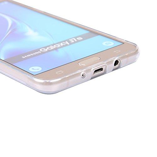 Ecoway TPU Funda Funda para Samsung Galaxy J7 (2016)/J710, Ultra Delgado Carcasa Antideslizante Suave Parachoques Resistente a los arañazos Contraportada Funda de silicona pintado Parachoques Carcasa  León blanco y negro