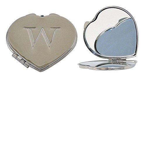 Ganz Compact Purse Mirror with Dual View, Monogram W in Center of Heart-Shape Metal Case.