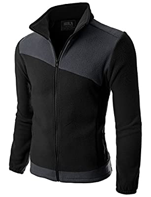 Doublju Mens Two Color Blocked Lightweight Fleece Jacket