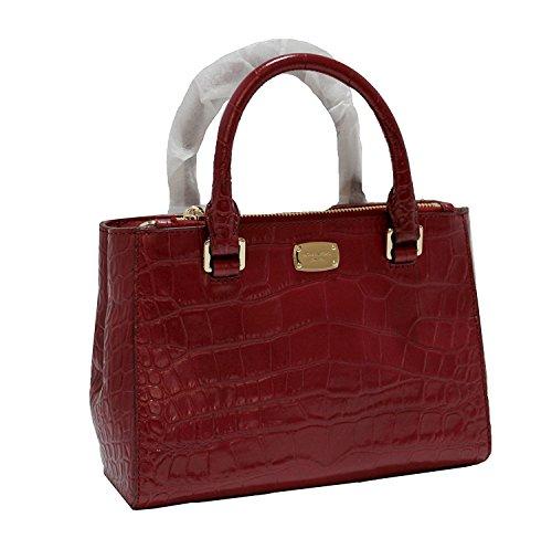 MICHAEL Michael Kors Women's KELLEN XSMALL SATCHEL Embossed Leather Shoulder Handbags (Cherry)