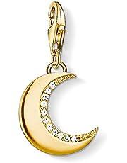 Thomas Sabo Mujer-Colgante-Charm Luna guardiana Charm Club Plata de ley 925 color oro amarillo 1500-414-14
