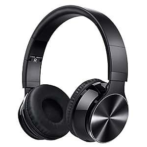 VicTsing Auriculares Bluetooth de diadema Plegables Con micrófono. Bluetooth Cascos Inalámbricos con Sonido Estéreo y Cancelación de Ruido Hasta 8 HORAS de Reproducción Para PC, Movil (Con Cable aux de 3,5mm )