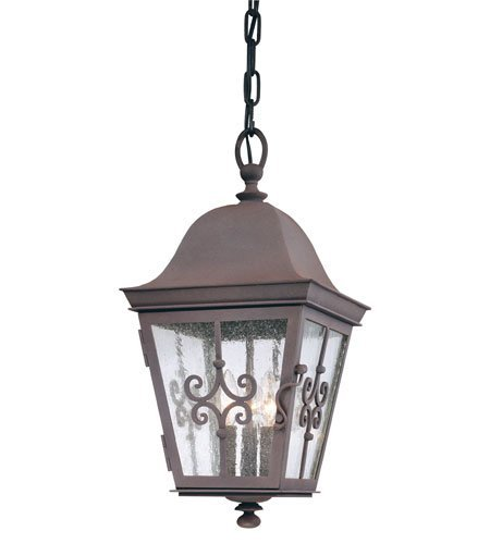 Weathered Iron Finish Pendants - Outdoor Pendant 3 Light with Weathered Bronze Finish Hand Forged Iron Material Candelabra 10 inch Wide 180 Watts