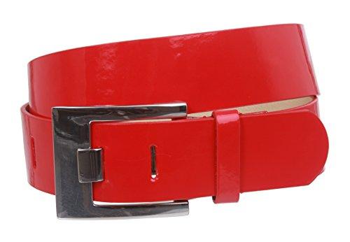 Ladies Square Metal Buckle Patent Plain Leather Fashion Belt Size: S/M - 32 Color: Red