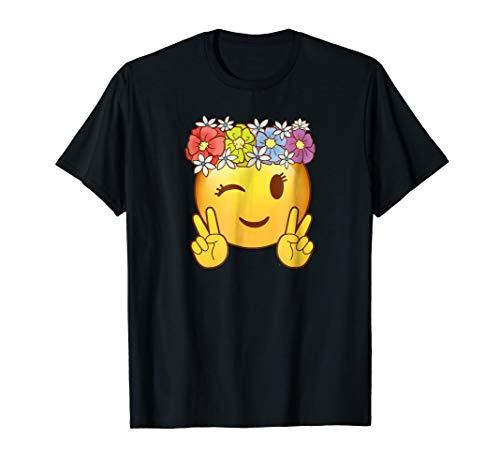 Womens Power Flower T-shirt - Hippie Flower Power Crown Peace Smiley Emoji Shirt for Girls