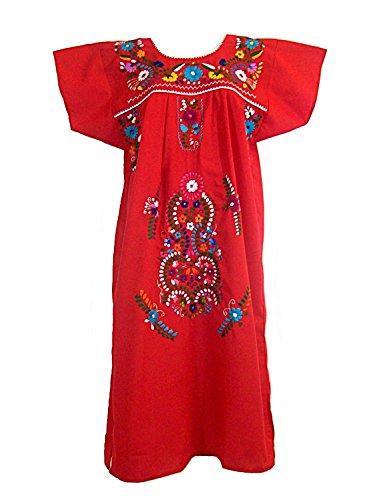 [Leos Mexican Imports Mexican Dress Puebla (S, Red)] (Cinco De Mayo Dress)