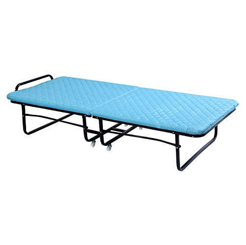 Quality Beds - Folding Bed Foam Mattress - Portable Heavy Duty Deluxe Bed - Camping Frame Guest Sleeper - Twin Roll Away Bed - Sleeper Cot Blue - Durable Convenient - Space saving