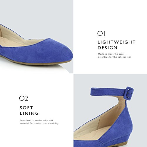Wedge Fashion DailyShoes Adjustable Low Toe Women's Buckle Flat Pointed Blue Shoes Ankle Suede Strap zUz1wFx5qr