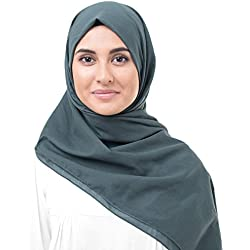 InEssence Dark Slate Blue Cotton Voile Scarf Women Girls Wrap Medium Size Hijab