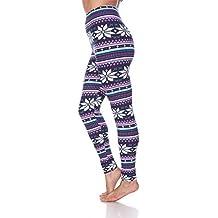 White Mark Premium Quality Women's Legging Printed for Holiday Christmas Reindeer Snowflake