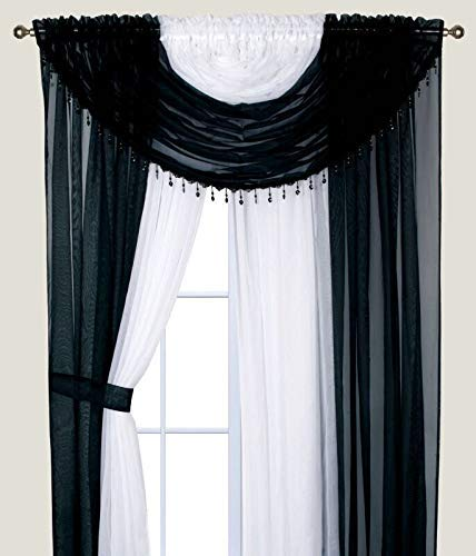 Elegant Home Complete Window Sheer Curtain All-in-One Set with Attached 4 Panels 2 Valances and Two Tiebacks for Living Room, Dining Room, Or Any Other Windows- Laura Short (Black/White)