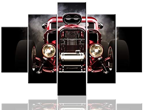 TUMOVO Artwork for Walls Retro Vintage Car Pictures Hot Rod Paintings 5 Pcs/Multi Panel Canvas Wall Art Modern Artwork Home Decor for Living Room Framed Ready to Hang Posters and ()