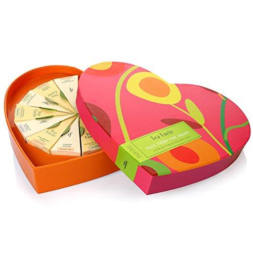 Tea Forté TEAS FROM THE HEART Large Heart Gift Box with 12 Pyramid Tea Infusers - Black Tea, Green Tea, White Tea, Herbal Tea -  Tea Forte