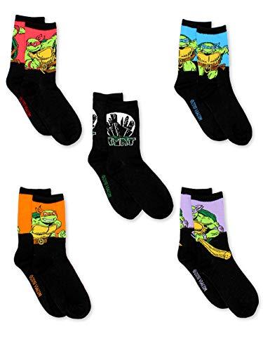 TMNT Teenage Mutant Ninja Turtles Boys 5 pack Crew Socks (6-8 Boys (Shoe: 10-4), Black/Multi -