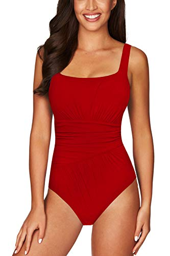 - COCOLEGGINGS Women's Ruched Backless Cheeky High Cut One Piece Bathing Suits Red XL