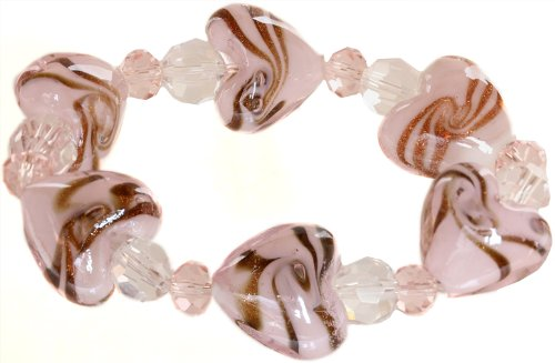Ace Of Diamonds Love Heart Italian Murano Glass Stretch Bracelet (Pink)