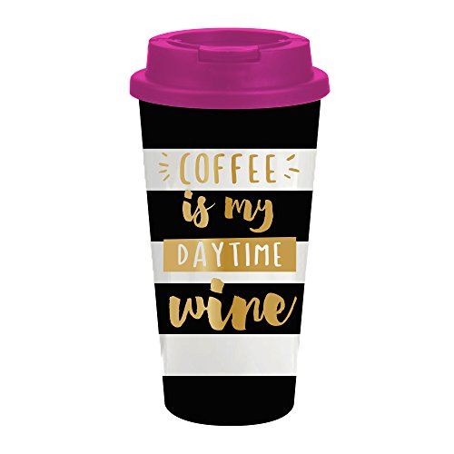 Coffee Is My Daytime Wine - 16 oz Funny Coffee Insulated Travel Mug for Women - Funny Christmas Gift, Birthday Gift & More (Coffee Travel Mug For Women compare prices)