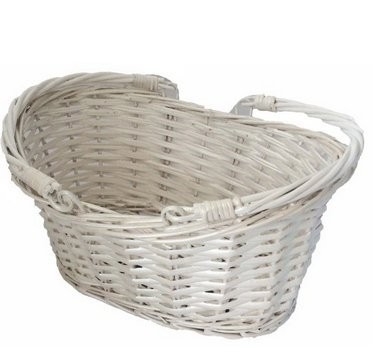 TOPOT 36pcs White painted Oval Willow Basket with Hard Liner & Swift Handles wholesale lot -