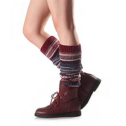 Gono Womens rayas Ethnic diseño de lana para tejer calentadores de la pierna Calcetines de botas