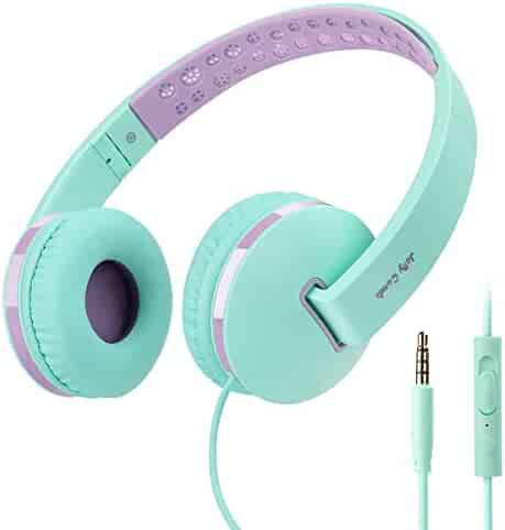 06adf2385dc On Ear Headphones with Mic, Jelly Comb Foldable Wired Kids Headphones with  Microphone, Volume