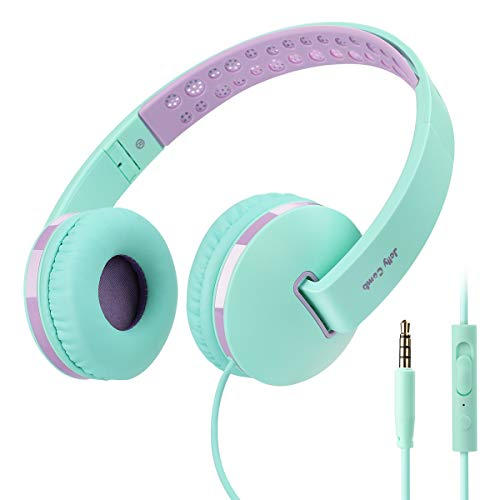 Kids Headphones for Girls, Jelly Comb Girls Lighhtweight Foldable Stereo Bass Kids Headphones with Microphone, Volume Control for Cell Phone, Tablet, Laptop, MP3/4(Green & Purple)- For Aged 6 or Above