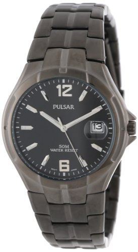 Pulsar Men's PXH753 Black Ion Finish Case and Bracelet Black Dial Watch