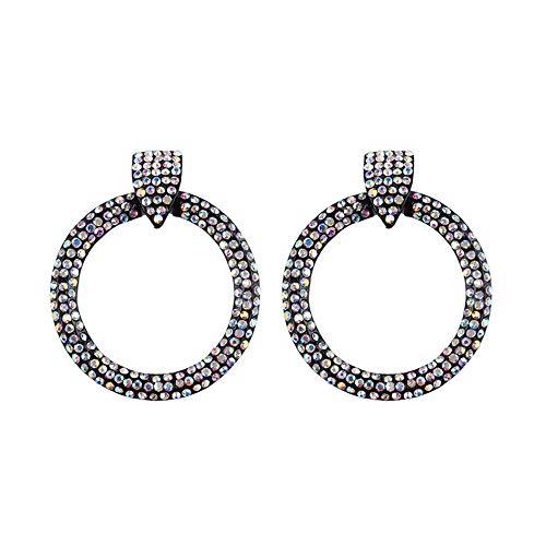 Barabum Bohemian Rhinestone Dangle Drop Tiered Tassel Druzy Circle Stud Earrings Women Gift (AB Multi) -
