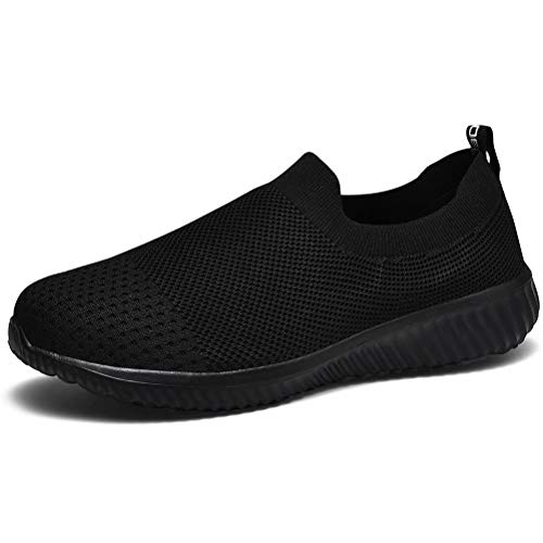 LANCROP Women's Walking Nurse Shoes - Mesh Slip on Comfortable Sneakers 6 US, Label 36 All Black
