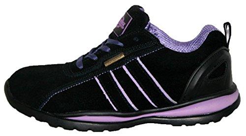 Ottawa - Zapatos de seguridad para mujer, acero en la punta de los dedos, con cordones, ligeras negro y lila