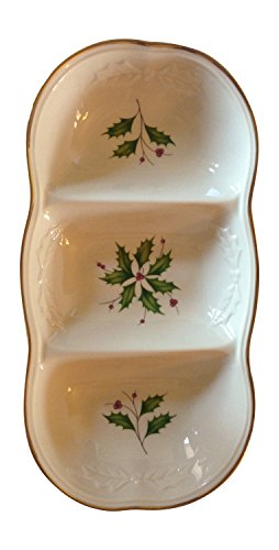 Lenox Holiday Dimensions Collection Carved Divided Server with Gold Accents