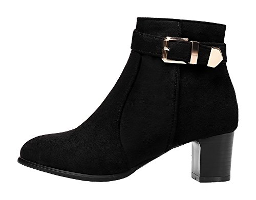 Boots Classic Closed Heels AgeeMi Black Zipper Toe Shoes Pointed Low Casual Women's vvqgOwU
