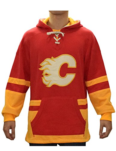 NHL CALGARY FLAMES Mens Professional Pullover Hoodie / Sweatshirt L - Calgary Outlet Shopping
