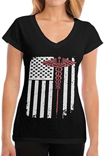 Zhangyi Womens Nurse USA American Flag V-Neck ComfortSoft T-Shirts Short Sleeve