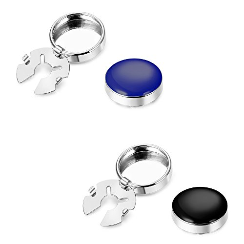 ORAZIO 2 Pairs Black Blue Round Cuff Button Covers for Men Women Cuff Links for Shirts