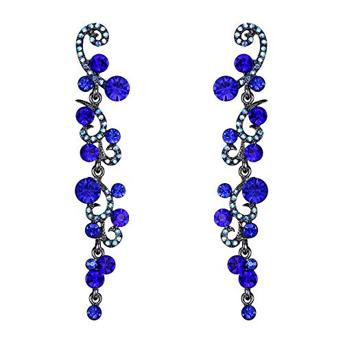EVER FAITH Women's Rhinestone Crystal Wedding Prom Flower Wave Dangle Earrings Blue Black-Tone