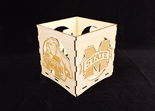 Mississippi State engraved candle holder-Unfinished wooden candle box-gift box-centerpiece-college candle holder-Bulldog candle (Bulldog Candle Holder)