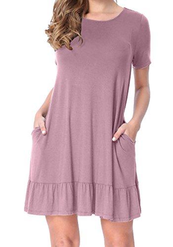 LAINAB Womens Sleeve Ruffles Pockets