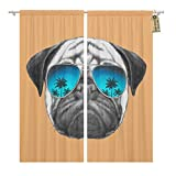 Golee Window Curtain Funny Portrait of Pug Dog Mirror Sunglasses Graphic Love Home Decor Rod Pocket Drapes 2 Panels Curtain 104 x 63 inches