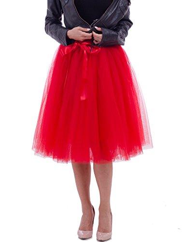 Women's Tulle Tutu Princess Skirt Pleated Midi/ Knee Length Wedding Party Skirts (Red) -
