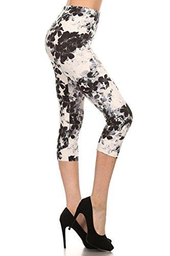 CAPRI Print Leggings Black Floral (R551-CA-PLUS)