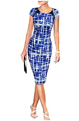 Coolred Pencil Patched Dresses Star O Blue Women Neck Cap Sleeve Printed pBwqpr7xg