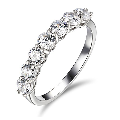 [2 Ct Enhanced Diamond(VS) Engagement Ring, Wedding Anniversary Band Solitaire 14k White Gold Half-floral] (Certified Diamond Band Ring)