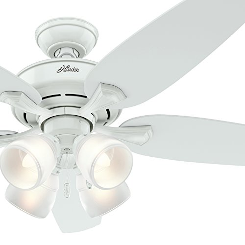 Hunter Fan 52in White Ceiling Fan with Painted Cased White Four-Light Fixture Renewed