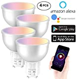 4 Pack GU10 Led Bulbs Smart LED WiFi Bulbs Dimmable Spot Light Bulb Daylight Lamps DIY Multicolor LED Bulb 2700-6500K, 400lm, 5W Control by Smart Phone Compatible with Alexa Google Assistant