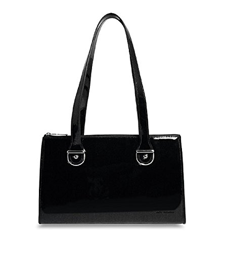 Blk Patent Leather Bag (Jack Georges Patent Collection Top Zip Shoulder Handbag P3604 (BLACK))